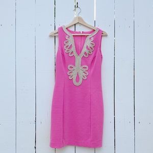 pink Lily Pulitzer dress with gold detail